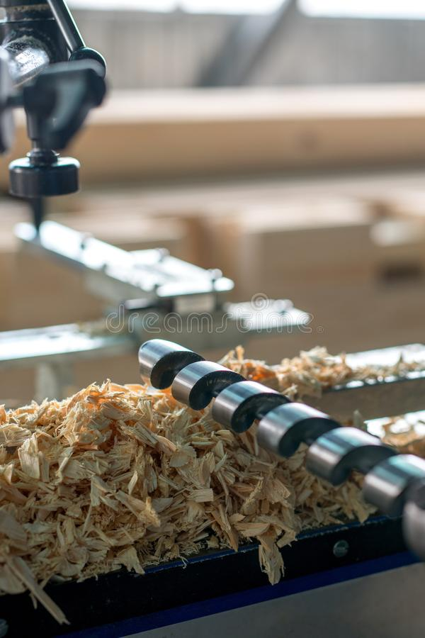 Machine tool for woodworking. Close-up of drill royalty free stock photography