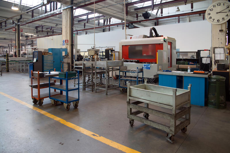 Machine tools with Computer Numerical Control (CNC). Computer Numeric Control (CNC) is the automation of machine tools that are operated by precisely programmed royalty free stock photo