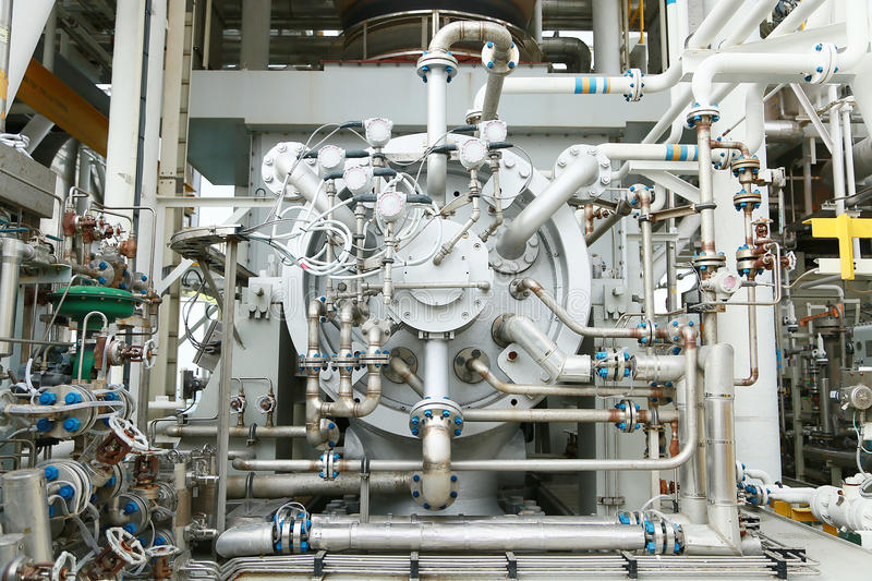 Machine turbine in oil and gas plant for drive compressor unit for operation. Turbine working with long time and controlled logic. By automation system, machine royalty free stock photos