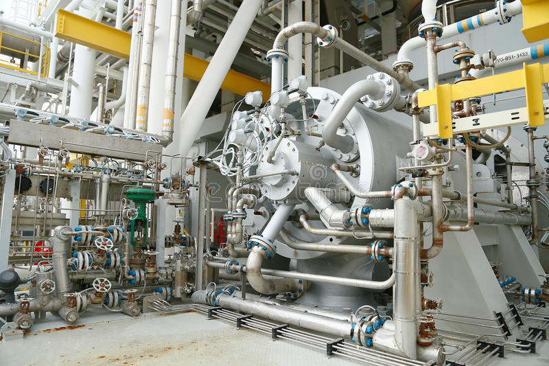 Machine turbine in oil and gas plant for drive compressor unit for operation. Turbine working with long time and controlled logic. By automation system, machine royalty free stock photography