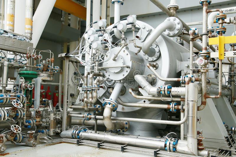 Machine turbine in oil and gas plant for drive compressor unit for operation. Turbine working with long time and controlled logic royalty free stock images