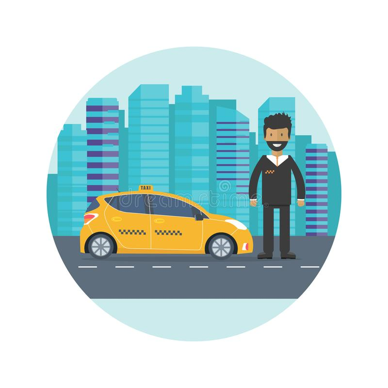 Machine yellow cab with driver in the city. Public taxi service. Concept. Flat vector illustration royalty free illustration