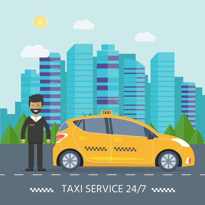 Machine yellow cab with driver in the city. Public taxi service. Concept. Flat vector illustration stock illustration