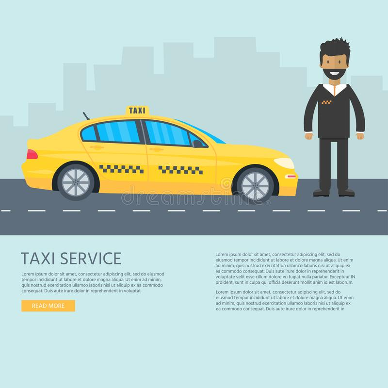 Machine yellow cab with driver. Public taxi service concept. Flat vector illustration vector illustration