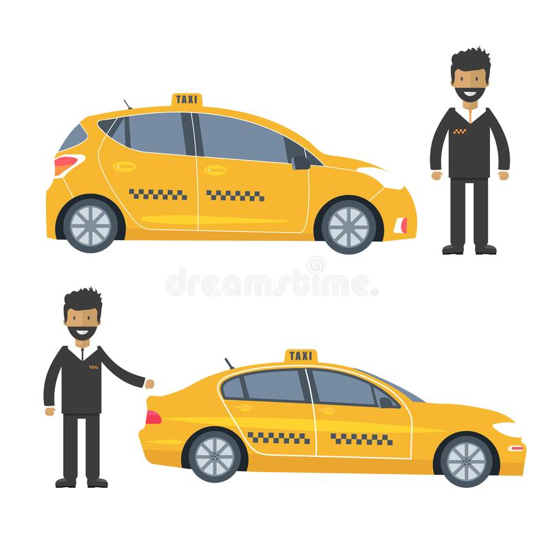 Machine yellow cab with driver. Public taxi service. Concept. Flat vector illustration royalty free illustration
