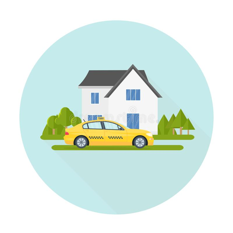 Machine yellow cab and eco house. Public taxi service concept. Home on the background. Flat vector illustration royalty free illustration