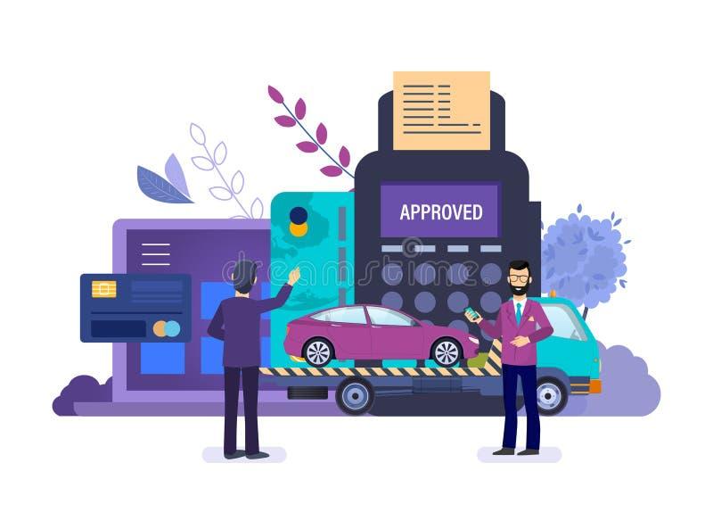 Machinediagnostiek, reparatie, slepenvrachtwagen Evacuatie van auto's voor diagnostiek royalty-vrije illustratie
