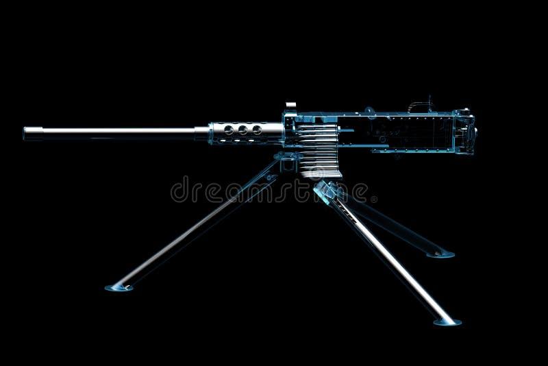 Machinegeweer (3D xray blauw) royalty-vrije illustratie