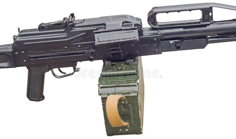 Machinegeweer op wit stock afbeeldingen