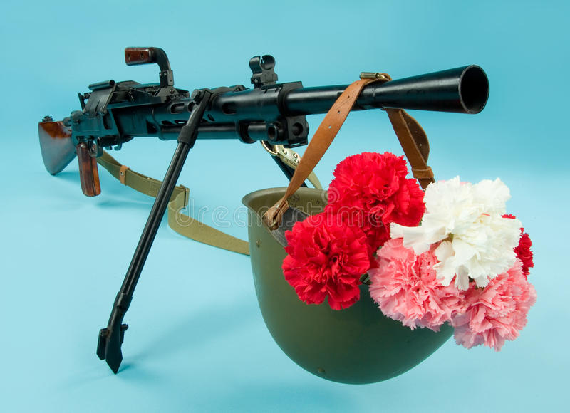 Download Machinegun And Flowers stock image. Image of conflict - 12241537