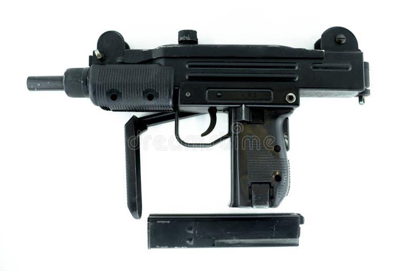 Machinepistool op wit, pneumatisch wapen wordt geïsoleerd dat royalty-vrije stock foto's
