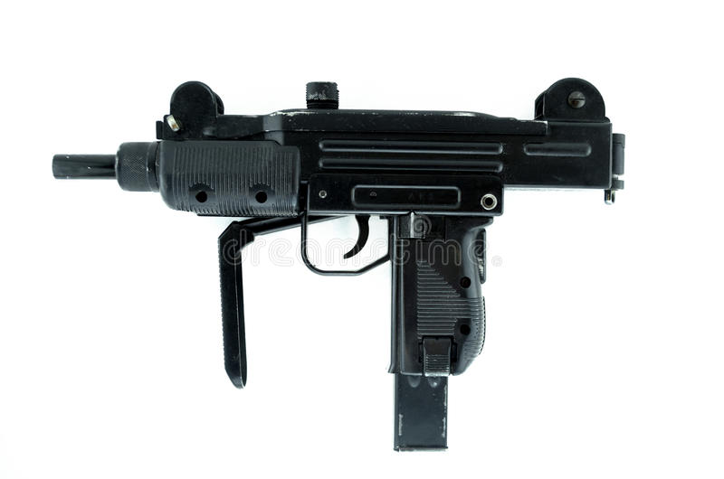 Machinepistool op wit, pneumatisch wapen wordt geïsoleerd dat stock fotografie