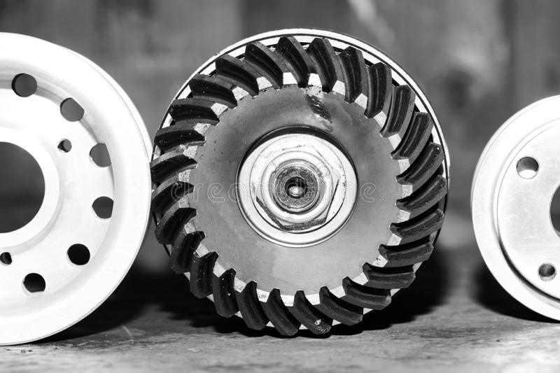 Machinery concept. Set of various gears and ball bearings royalty free stock photos