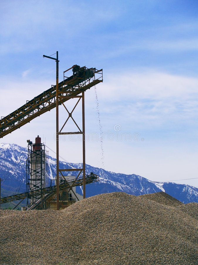 Machinery and conveyors for making gravel royalty free stock photo