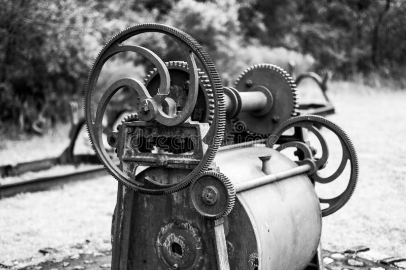 Machinery discarded in a rock quarry. Disused and discarded machinery in the mining industry in Uruguay royalty free stock image