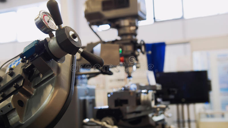 Machinery industry - lathe machine at factory - metal equipment royalty free stock images