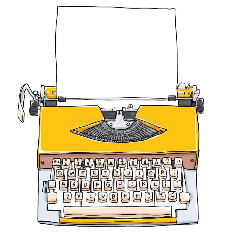 Machines à écrire jaunes avec la défectuosité de peinture d'art mignon de papier blanc illustration libre de droits