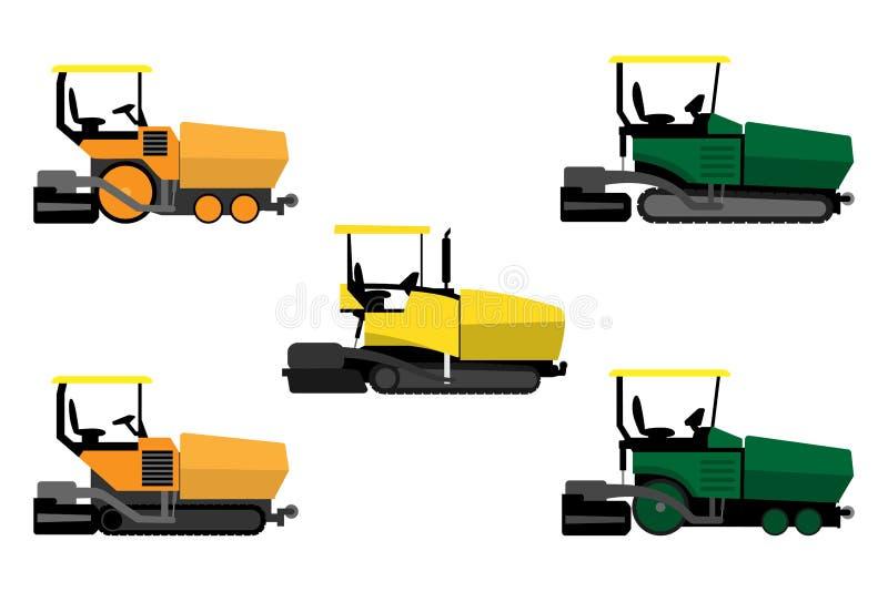 Machines à paver d'asphalte réglées illustration de vecteur