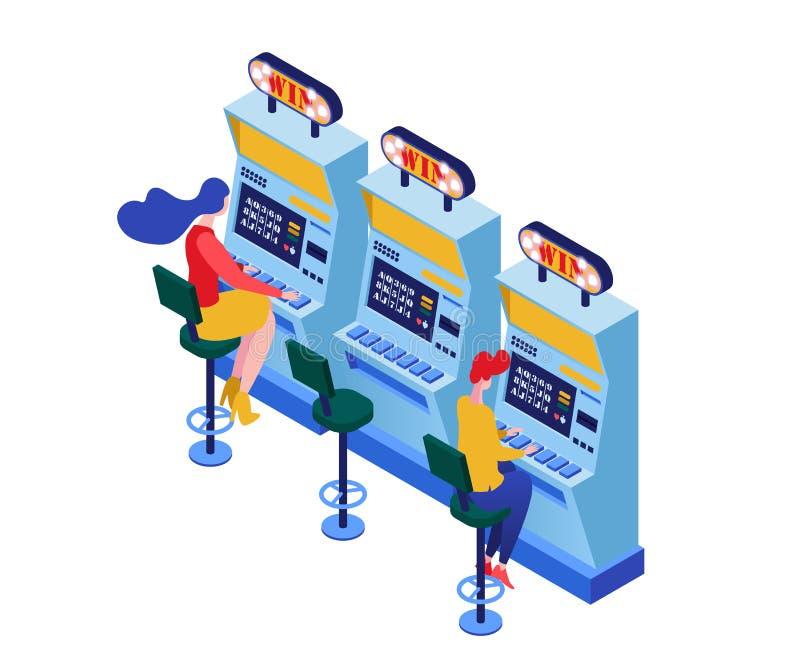 Machines à sous jouant l'illustration isométrique de vecteur Joueurs jouant un bandit de bras, caractères de gain du gros lot 3d illustration de vecteur