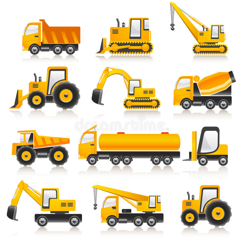 Machines. Set of 12 machines on white background vector illustration