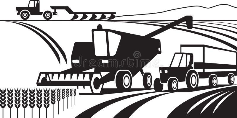 Machines agricoles dans le domaine illustration stock