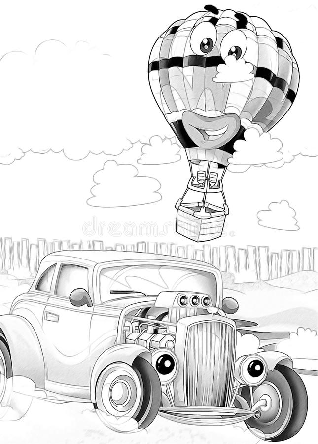 Machines - artistic coloring page vector illustration