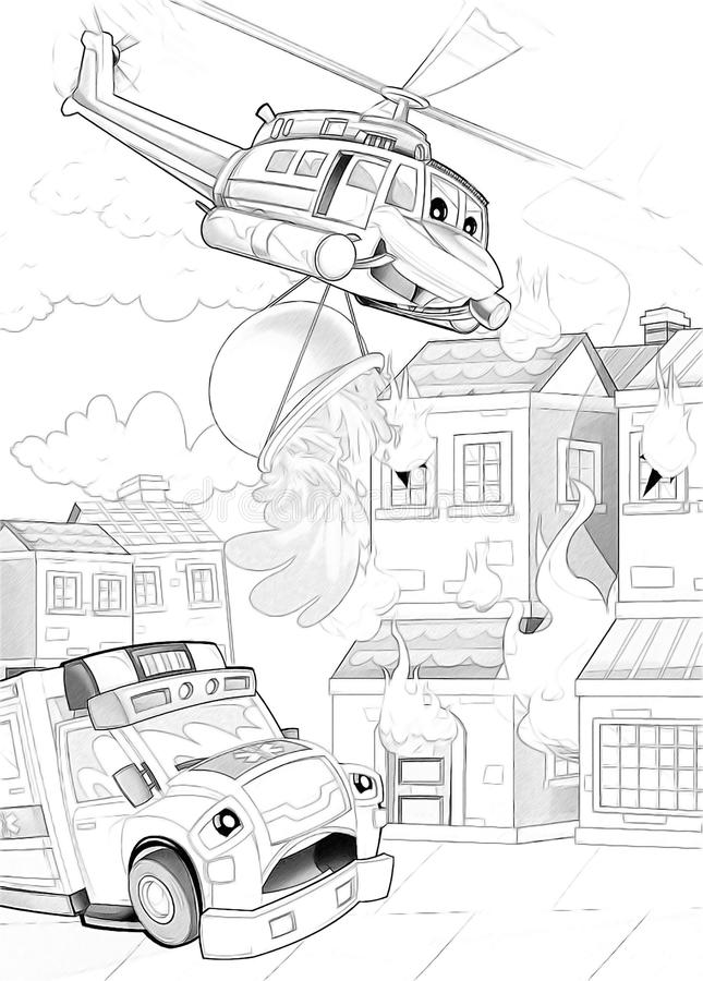 Machines - artistic coloring page stock illustration