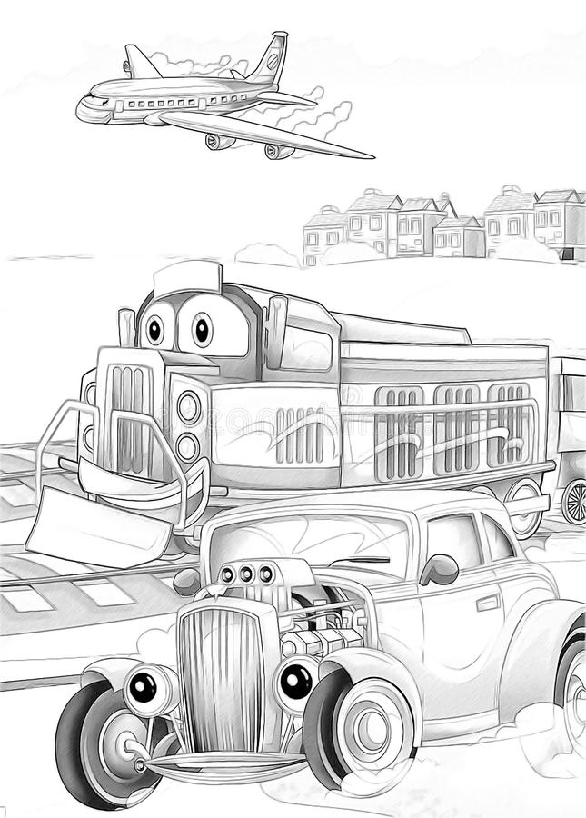 Download Machines - Artistic Coloring Page Stock Illustration - Illustration of roadster, cartoon: 34636182