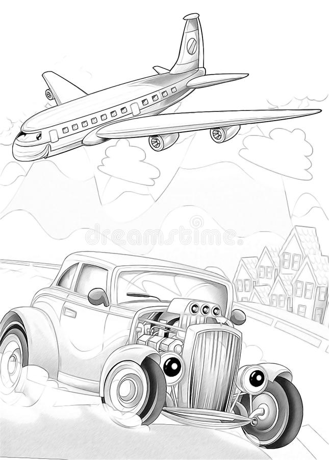 Machines - artistic coloring page royalty free illustration