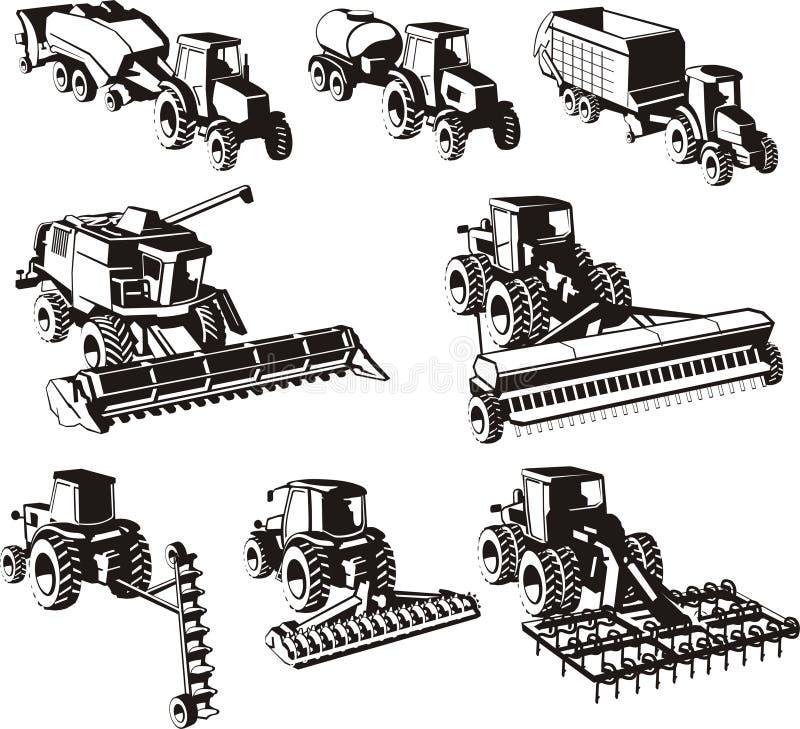 Machines d'agriculture réglées illustration libre de droits