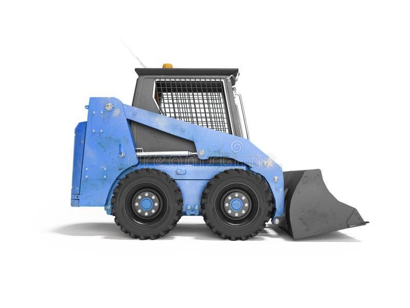 Machines de construction mini-chargeur bleu vue latérale 3d rendu sur fond blanc avec ombre illustration libre de droits