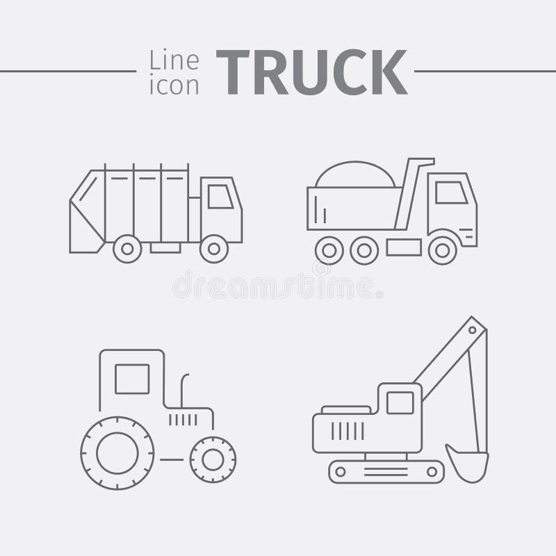 Machines, dunne lijnstijl Vrachtwagenpictogram stock illustratie