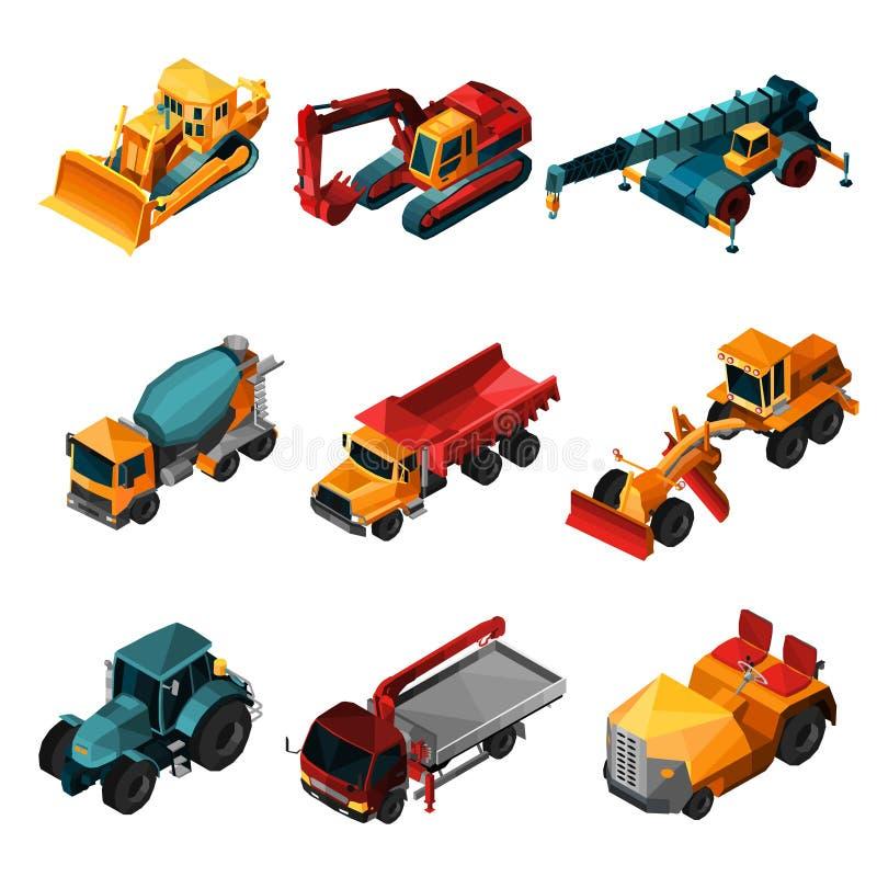 Machines isométriques de construction illustration stock