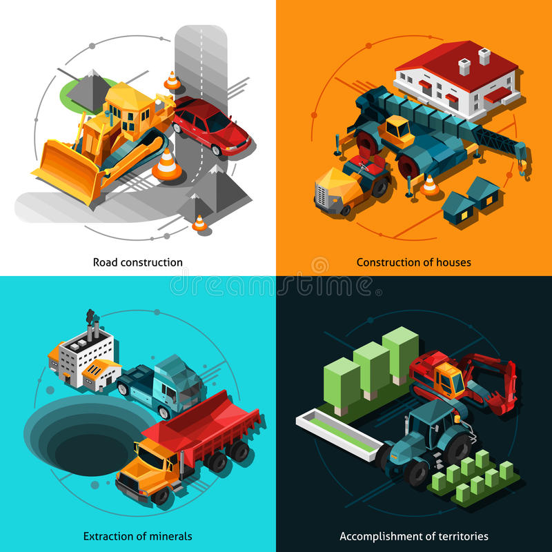 Machines isométriques de construction illustration de vecteur