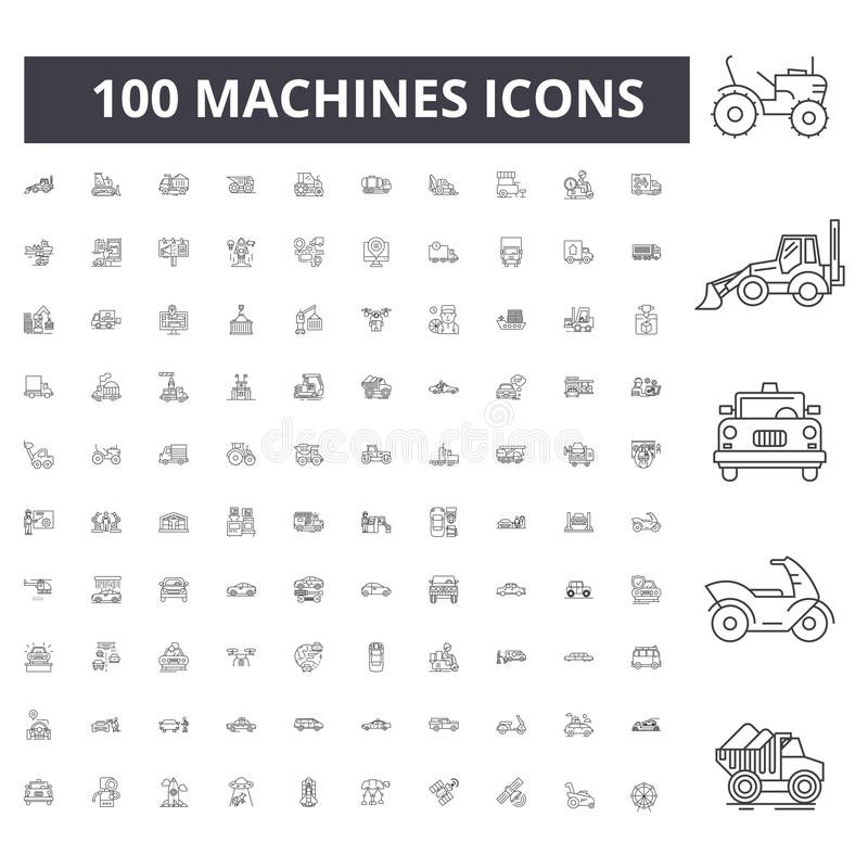 Machines line icons, signs, vector set, outline illustration concept stock illustration
