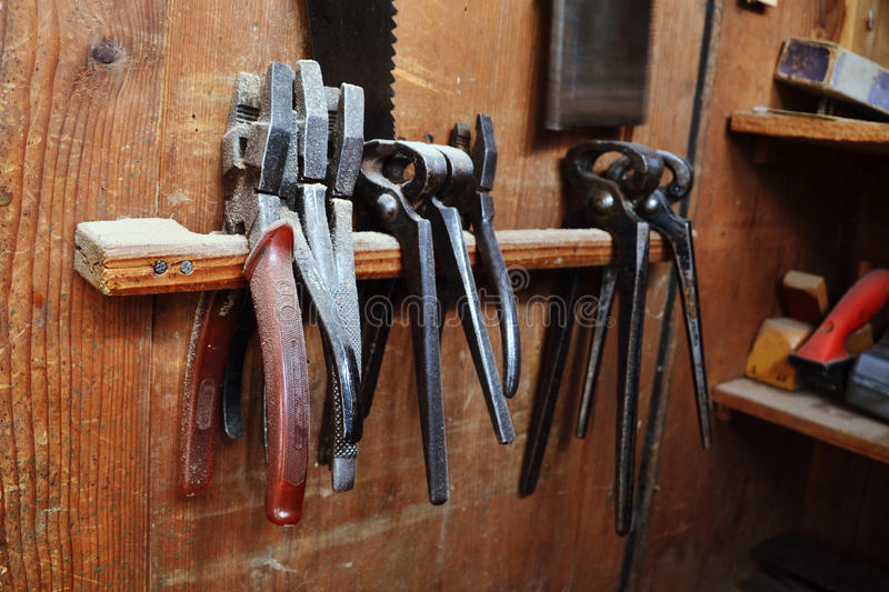 Machines in old joinery. Vintage woodworking tools in joinery stock images