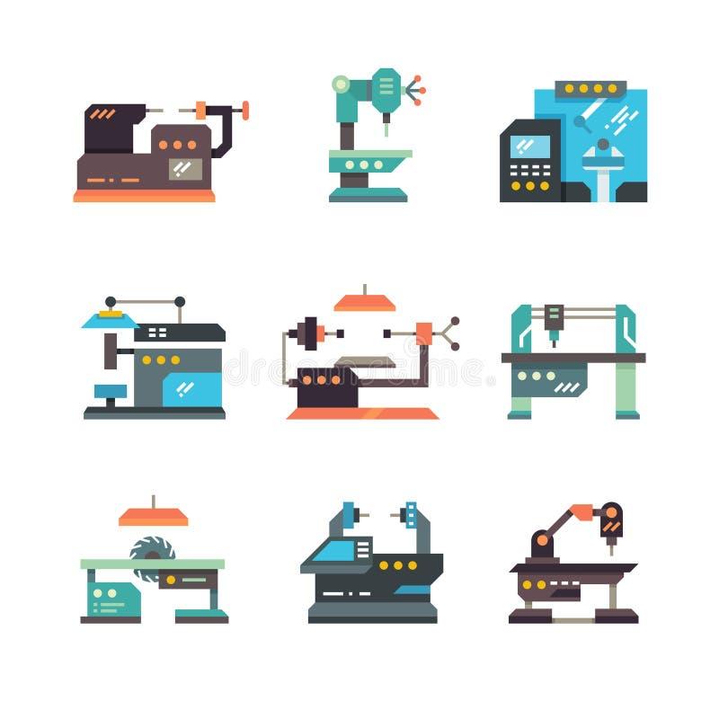 Machines-outilles à commande numérique industrielles et icônes plates automatisées de machines illustration stock