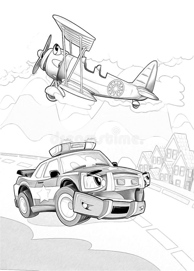 Machines - page artistique de coloration illustration libre de droits