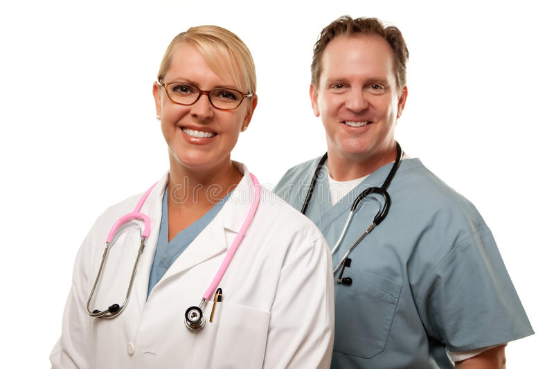 Macho amigável e doutores fêmeas no branco imagens de stock royalty free