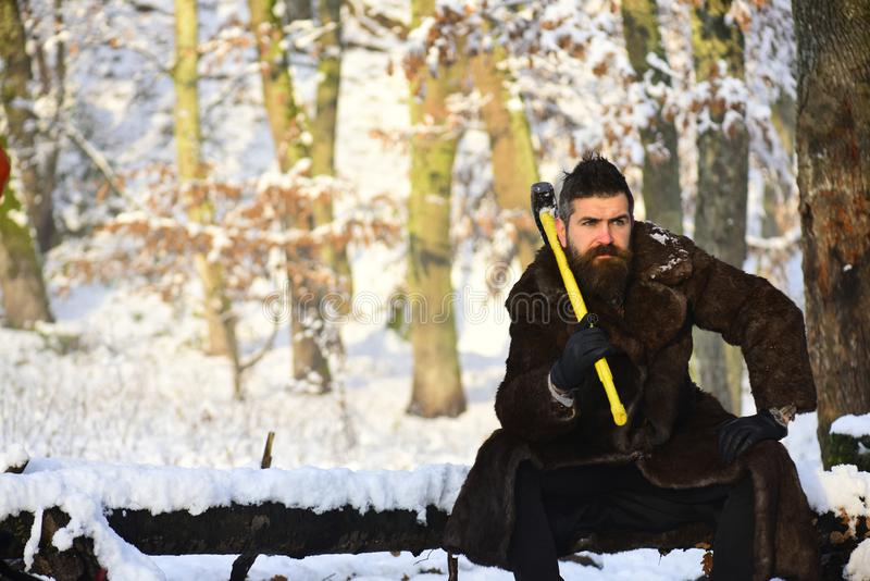 Macho with beard and mustache sits in forest holding axe. Guy with trees covered by snow on background, defocused. Hipster woodsman concept. lumberjack concept stock photography
