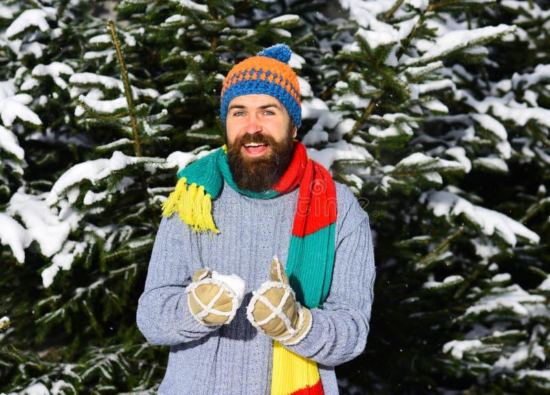 Macho con i giochi dei baffi e della barba con la palla di neve fotografia stock libera da diritti
