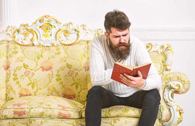 Macho on concentrated face reading book. Scandalous bestseller concept. Man with beard and mustache sits on baroque. Style sofa, holds book, white wall royalty free stock photos