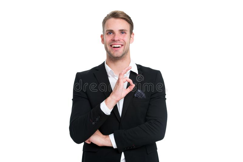 Macho confident prepare perfect outfit. Guy office worker handsome perfect appearance. Pick perfect outfit to occasion. Formal event. Every detail matters. Man stock photo