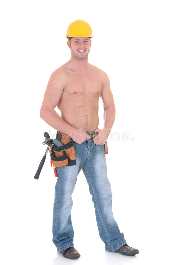 Macho construction worker stock photo