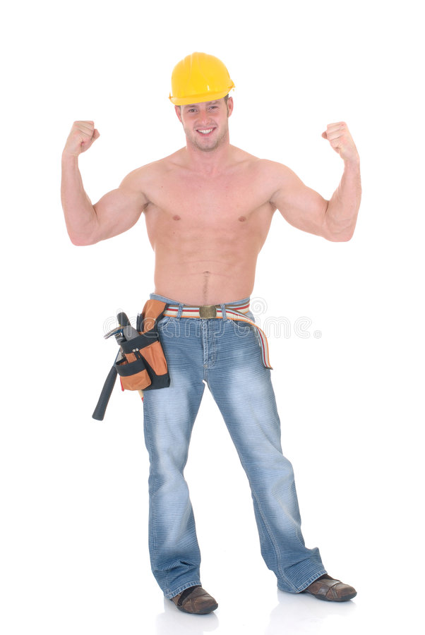 Macho construction worker stock photos