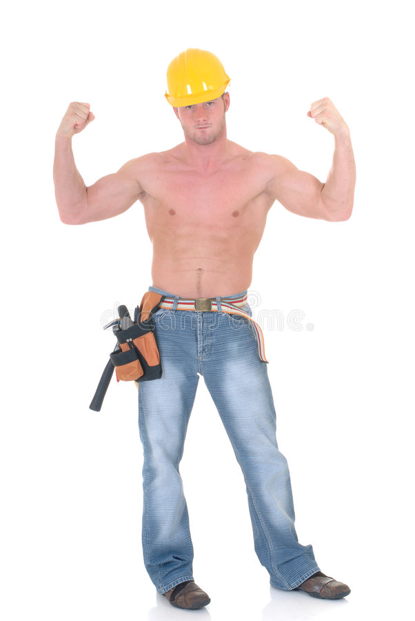 Macho construction worker royalty free stock photography
