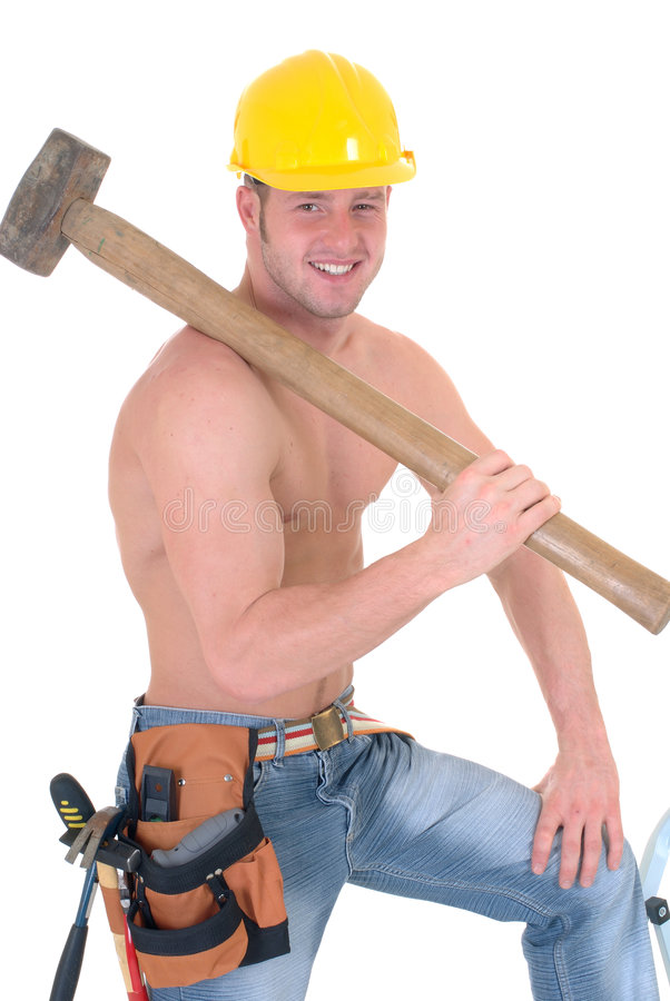 Macho construction worker royalty free stock photo