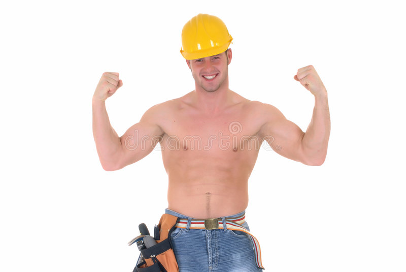 Macho construction worker royalty free stock photos