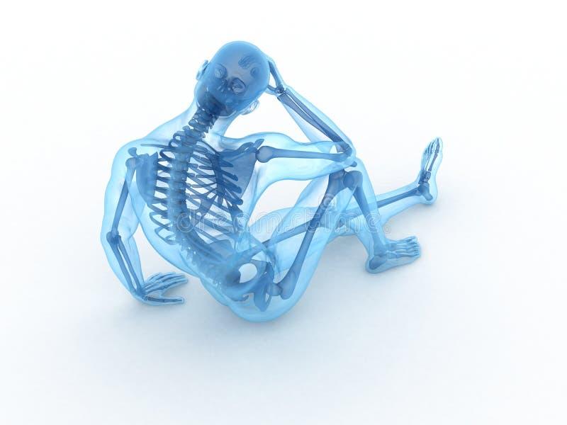 Macho de assento com ossos visíveis ilustração stock