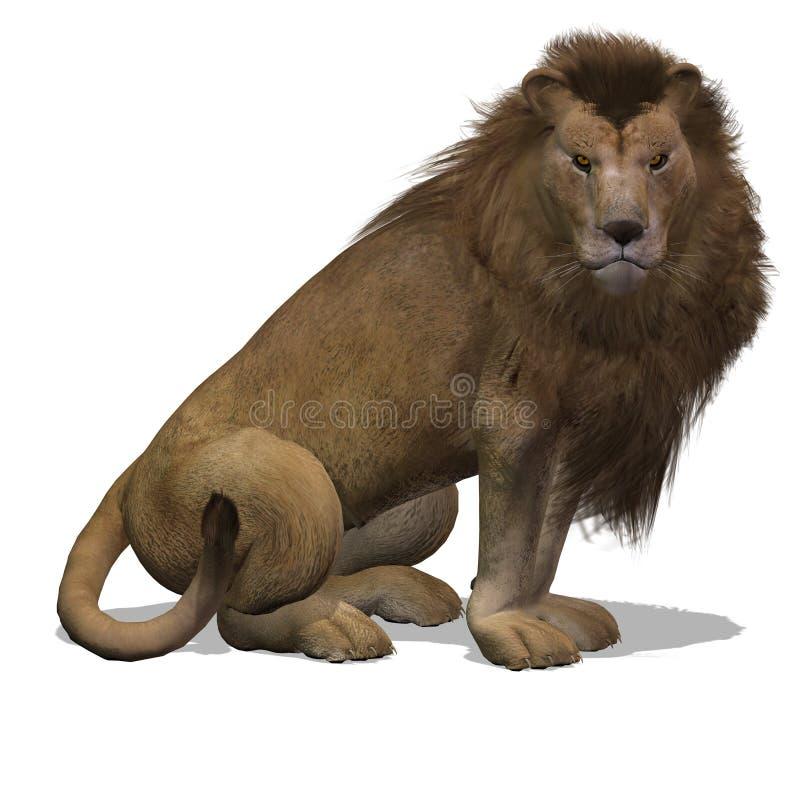 Macho do leão do gato grande ilustração do vetor